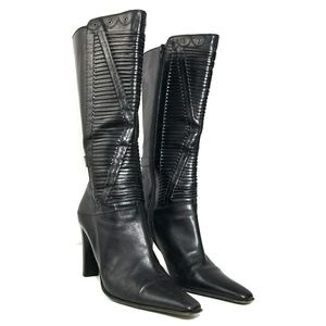 Via Spiga 10.5 Leather Stripe Cutout Heeled Boots
